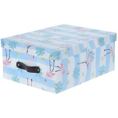 Dekorációs tároló doboz Flamingo, kék