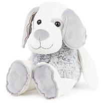 Câine din pluș, gri-alb, 30 cm