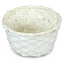 Bambusový obal na květináč bílá, pr. 15 cm