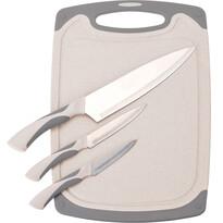 Set de cuțite Excellent, 3 piese, cu tocător, roz