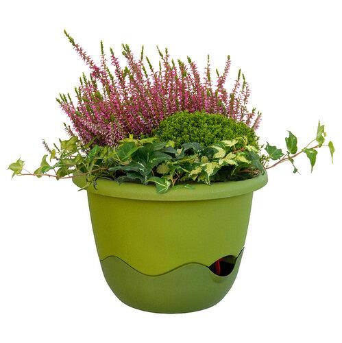 Plastia Mareta önöntöző virágtartó zöld, 30 cm átmérő