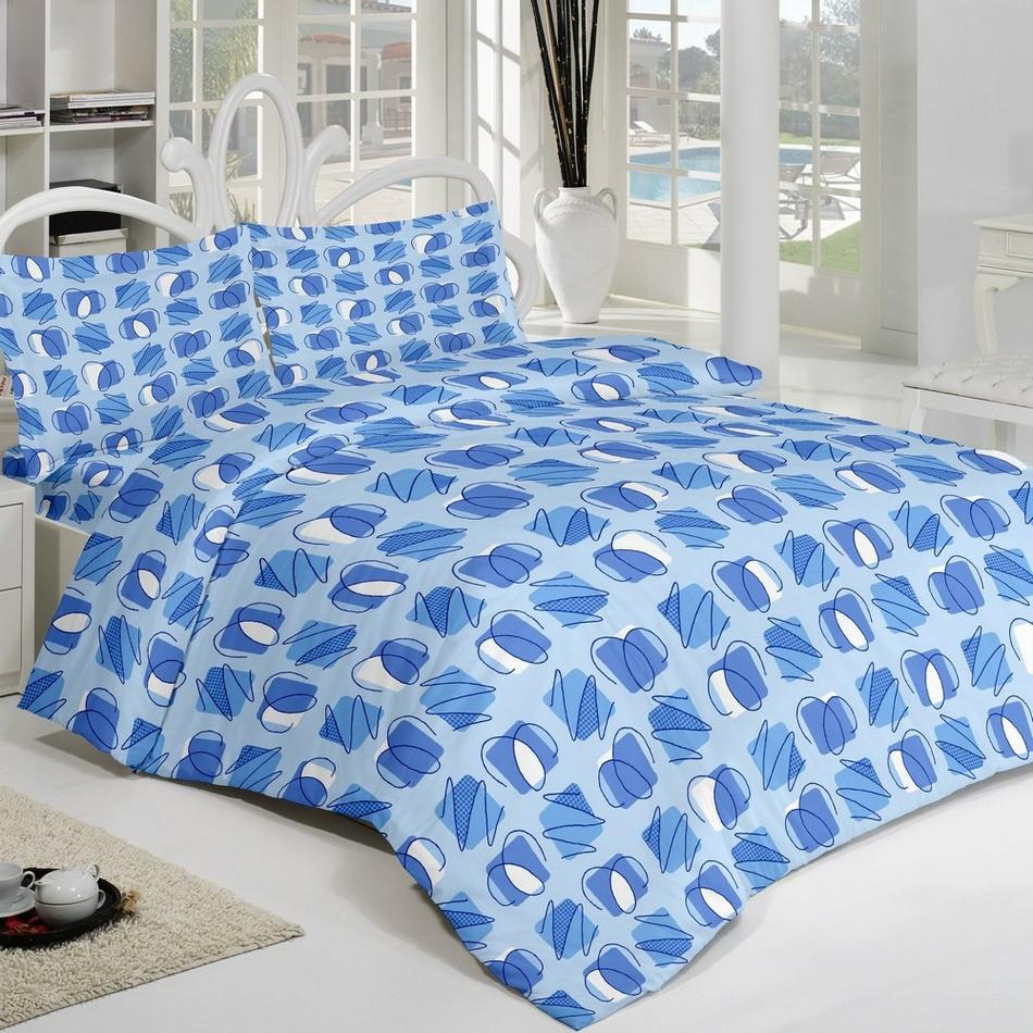 Kvalitex Krepové povlečení Squares modrá, 220 x 200 cm, 2 ks 70 x 90 cm
