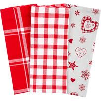 Vánoční kuchyňská utěrka Vločka a srdce červená, 45 x 70 cm, sada 3 ks