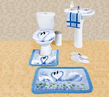 Kúpeľňové predložky labute, svetlo modrá