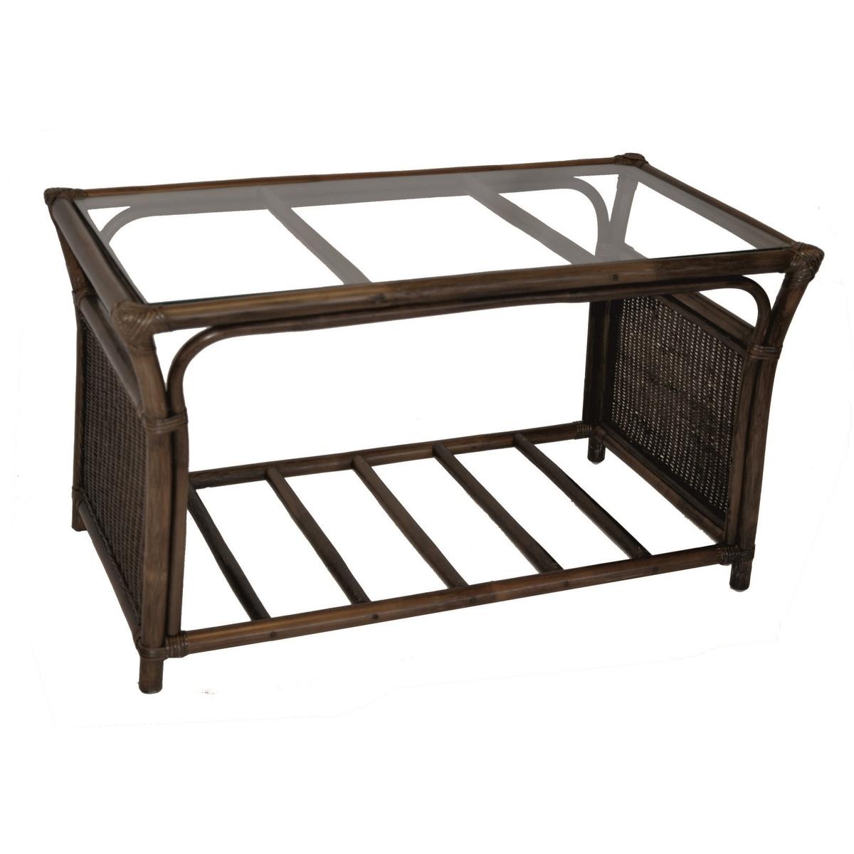 Ratanový stolík Oliver, tmavo hnedá