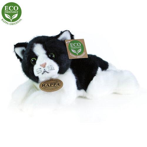 Rappa Plyšová ležící kočka černobílá, 16 cm