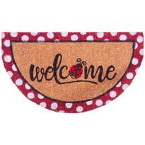 Welcome Dots félkör alakú kókusz lábtörlő, 40 x 70 cm