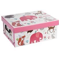 Dekoračný box Hatu Slon ružová, 37 x 30 x 16 cm