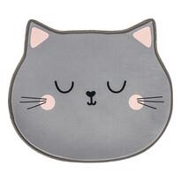 Dětský koberec Kočka šedá, 60 x 52 cm