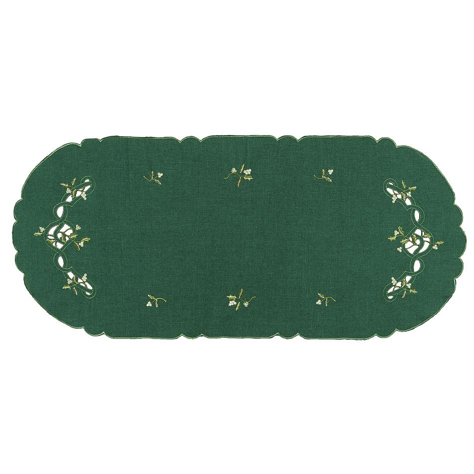Forbyt Vianočný obrus imelo zelená, 40 x 90 cm