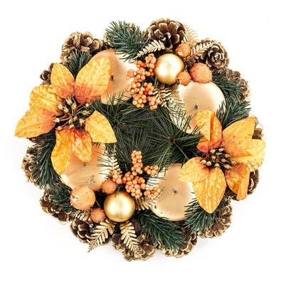 Adventní věnec 23 cm oranžová