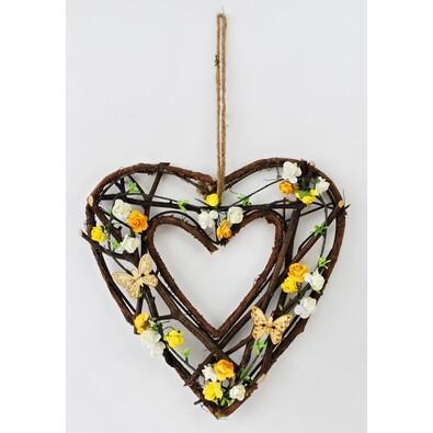 Prútená závesná dekorácia Srdce, 26 cm
