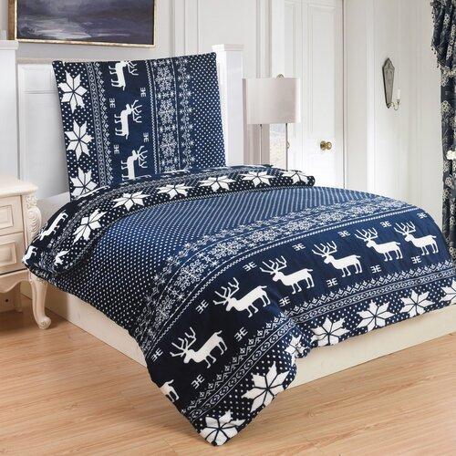 Lenjerie de pat micro-pluş Ren blue, 140 x 200 cm, 70 x 90 cm
