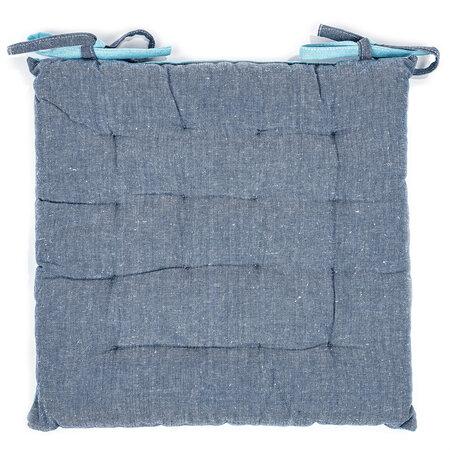 Prošívaný sedák Heda modrá, 40 x 40 cm