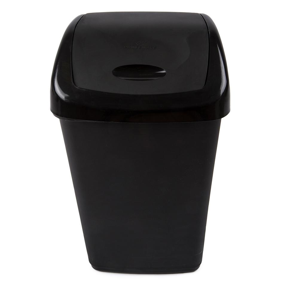 Odpadkový plastový výklopný koš 15 l, černá