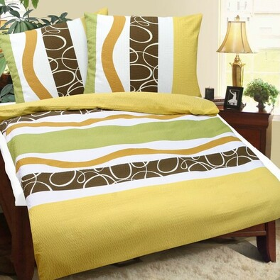 Lenjerie de pat din crep Fantezie, multicoloră, 140 x 200 cm, 70 x 90 cm