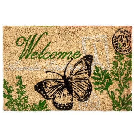 Kokosová rohožka Welcome motýľ, 40 x 60 cm