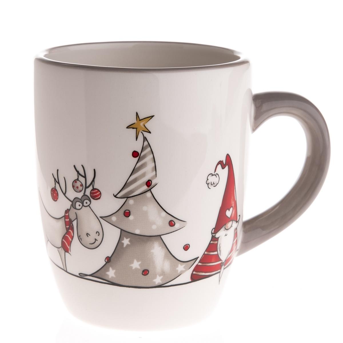 Vianočný keramický hrnček Škriatok a sob, 350 ml, sivá