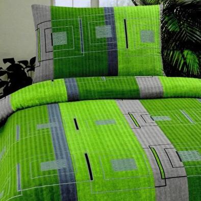 Krepové povlečení Plaza zelená, 140 x 200 cm, 70 x, zelená, 140 x 200 cm, 70 x 90 cm