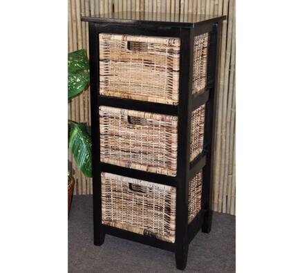Dřevěná komoda Sylvana - 3 zásuvky, hnědá, 47 x 37 x 101 cm