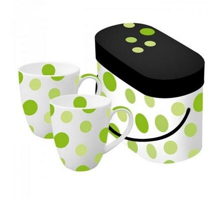 Hrnek zelený puntík, 2 ks, bílá + zelená