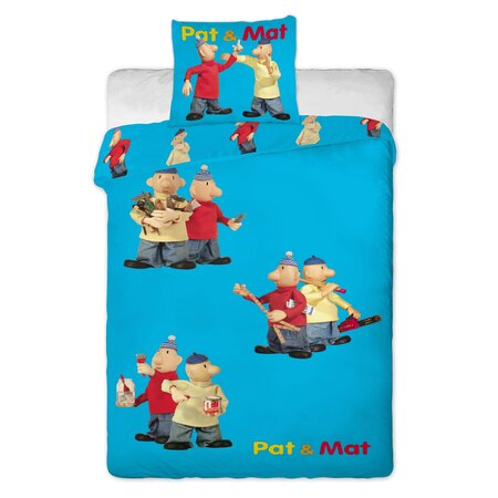 Detské bavlnené obliečky Pat a Mat modrá, 140 x 200 cm, 70 x 90 cm