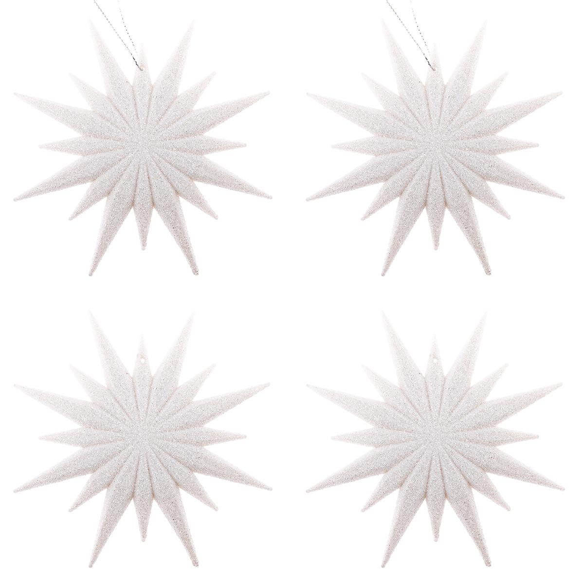 Sada závesných ozdôb Shiny Vločka plná biela, 4 ks