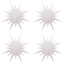 Sada závěsných ozdob Shiny Vločka plná bílá, 4 ks