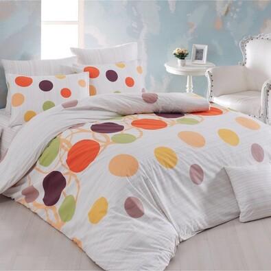 Bavlněné povlečení Puntíky oranžová, 220 x 200 cm, 2x 70 x 90 cm