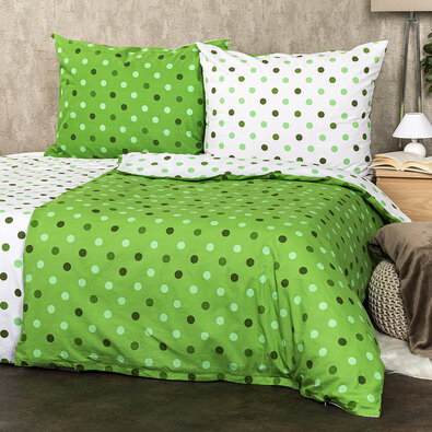 4Home Bavlněné povlečení Puntíky zelená, 220 x 200 cm, 2 ks 70 x 90 cm