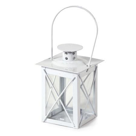 Felinar din metal Brillare alb, 9 cm