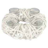 Otranto adventi rattan gyertyatartó, fehér, átmérő: 30 cm