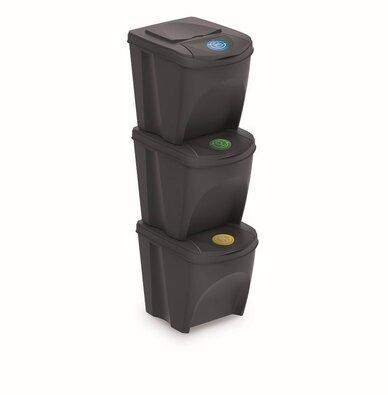 Coșuri sortare gunoi Sortibox 25 l, 3 buc., gri