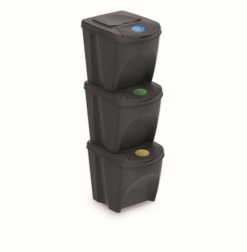 Koš na tříděný odpad Sortibox 25 l, 3 ks, antracit