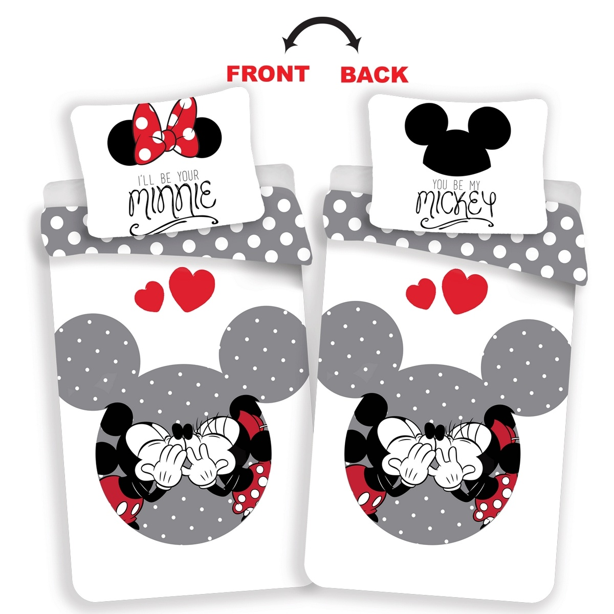 Jerry Fabrics Bavlněné povlečení Mickey a Minnie Love grey, 140 x 200 cm, 70 x 90 cm
