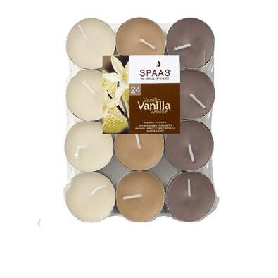 Čajové svíčky Vanilla, plato, 24 ks, Spaas, béžová + hnědá