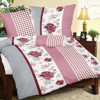 Lenjerie de pat din crep Trandafir cu pătrat, 240 x 200 cm, 2 buc. 70 x 90 cm