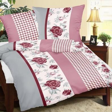 Lenjerie de pat din crep Trandafir cu pătrat, 140 x 200 cm, 70 x 90 cm