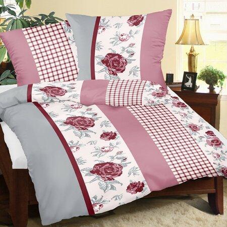 Krepové obliečky Ruža s kockou, 240 x 220 cm, 2 ks 70 x 90 cm