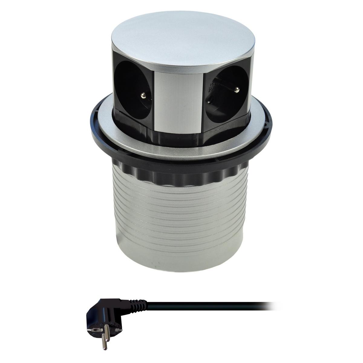 Solight PP100 predlžovací prívod 4 zásuvky strieborný 1,5m výsuvný blok zásuviek kruhový tvar