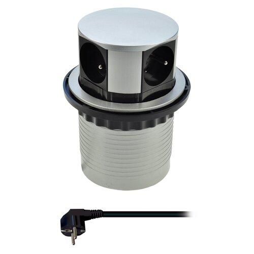 Solight PP100 Výsuvný predlžovací blok so 4 zásuvkami, strieborná