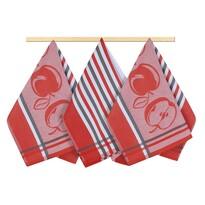 Ścierka kuchenna owoce czerwono-szary, 50 x 70 cm, zestaw 3 szt.