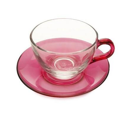 Maxwell & Williams Skleněný šálek s podšálkem růžová