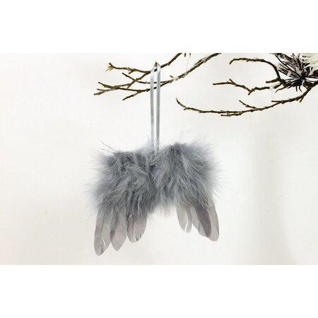 Sada vánočních ozdob Andělská křídla 12 ks, šedá