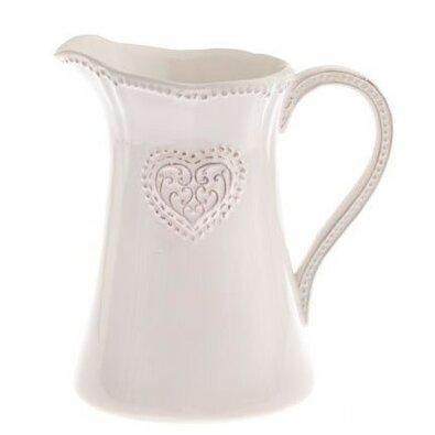 Keramický džbán Srdce 1150 ml, růžová