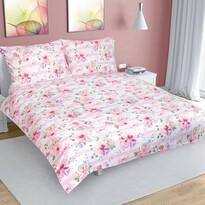 Lenjerie de pat din bumbac Floare cu dungi, roz