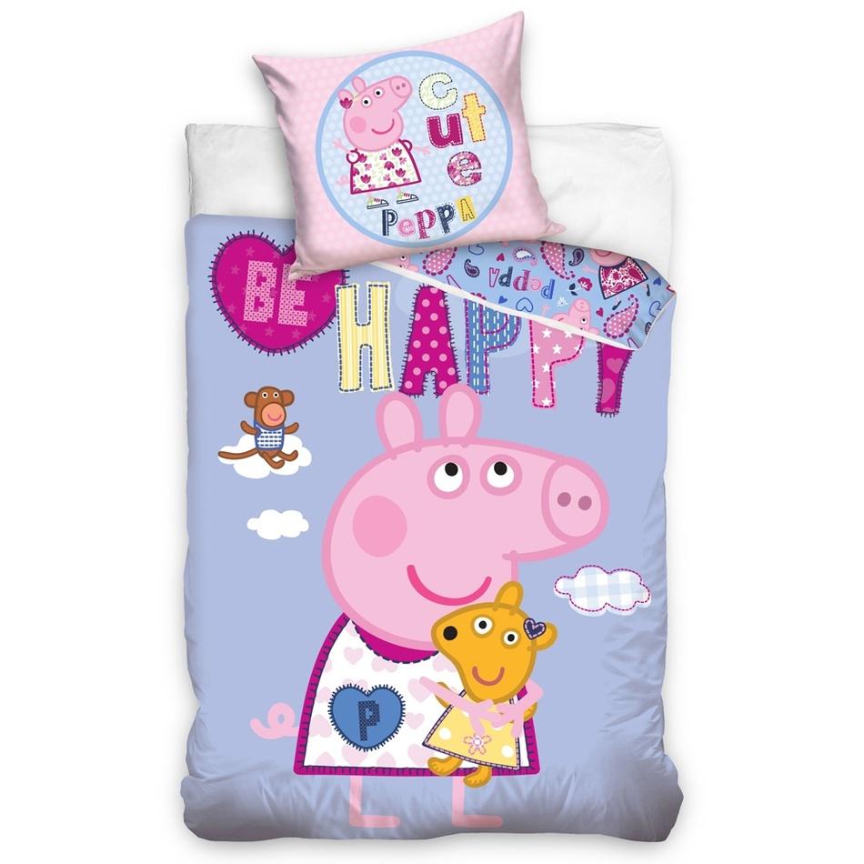 Gyermek pamut ágynemű – Peppa Malac és az aranyos Pepina, 140 x 200 cm, 70 x 90 cm