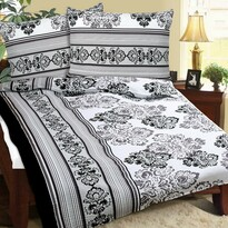 Lenjerie pat 1 pers. Ornament floral, creponată, 140 x 200 cm, 70 x 90 cm