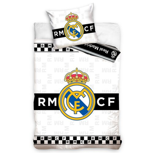 Real Madrid Thin Chessboard pamut ágynemű, 140 x 200 cm, 70 x 90 cm