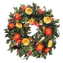 Coroniță artificială Crizanteme diametru 30 cm